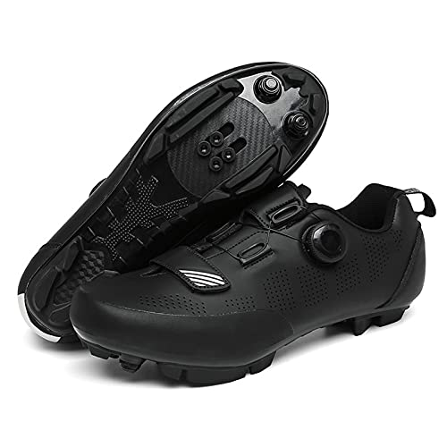 ZDERT Men's Road Cycling Shoes with Impact Resistant Toe Box Road Bike, Touring, Indoor Cycling Shoe and Indoor Cycling Bundle,46 Black