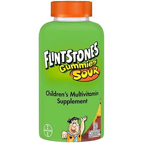 Flintstones Sour Gummies Kids Vitamins, Gummy Multivitamin for Kids with Vitamins A, B6, B12, C, D & more, 180ct