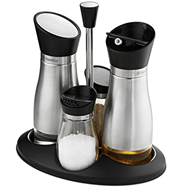 FineDine Premium glass cruet set stainless steel brushed finish, oil & vinegar dispenser and salt & pepper shaker with twist open/close tops rubber gasket seal with caddy stand - 5 piece combo set