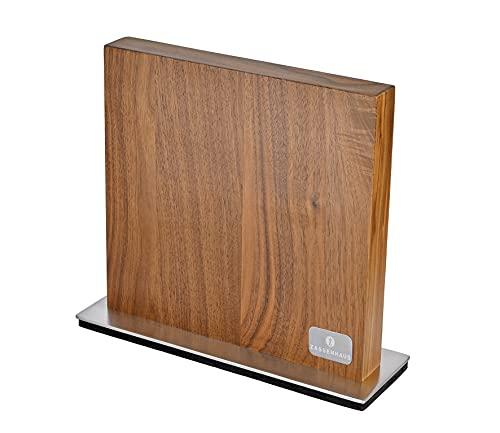 Zassenhaus Bloque magnético para cuchillos de doble cara, imán extra fuerte, madera de nogal maciza