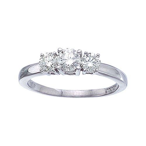 14 K oro blanco 0.75 Ct anillo de diamantes de tres piedras