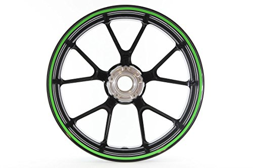 Curved Wheel Rim Striping Stickers / Decals Tape roll with applicator for Motorcycles (& Car) Fits 20' Wheel - 7mm - Green (2189-002)