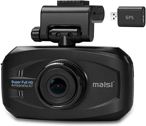 maisi M20 In-Car 1296p HD Video and GPS Recorder Dashcam, 1 Pack-Black