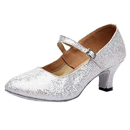 Deloito Damen Mid-High Heels modern Glitzer-Pailletten Tanzschuhe Ballsaal PU weicher Boden Latein Tango Flach Tanzen Schuhe (40 EU, Weiß)