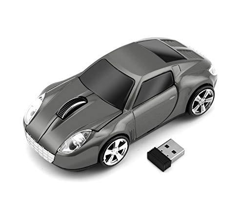 Klein Design CM0023 Kabellose Maus, Sportwagen Design, 2.4 GHz Verbindung via Nano-USB-Empfänger, Optischer Sensor, Für Links- und Rechtshänder, in Farbe grau