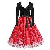 SCHOLIEBEN Vintage Knielang Weihnachts Kleid Kleider Damen 50Er Elegante...