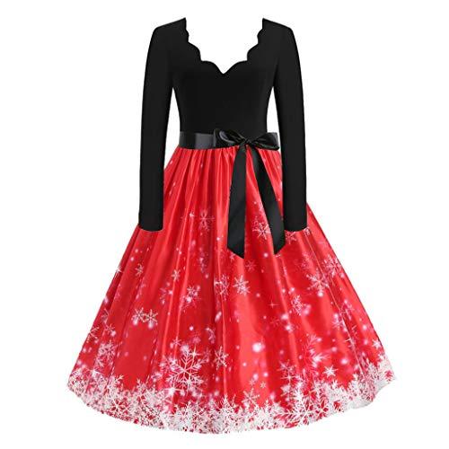 Damen Weihnachtskleider, Frauen Geschenk Vintage Christmas Print Langarm Oansatz Abend Party Swing Kleid Club Festival Karneval Kleid Karneval Kostüme Dress Kleid