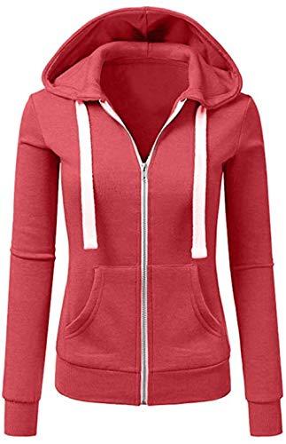 Seamido Damen Kapuzenpullover Kontrastfarbe Sweatjacke Langarm Freizeit Hoodie Oberteile mit Reißverschluss aus Baumwolle