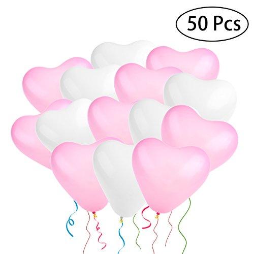 NUOLUX Hochzeit Luftballons,geformte Herz Luftballons für Party Dekoration, 50 Stück
