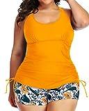 Yonique Women Plus Size Tankini Swimsuit Geometric Bathing Suit Top with Shorts Athletic 2 Piece Swimwear Yellow 18W