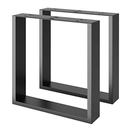 FIXKIT Tischkufen | Metall Tischbeine DIY für Esstische, Schreibtische, Couchtische, Bänke | Beinhaltet Schwarz, Industrie und Weiß | Einfach zu montieren | 40 * 43cm Schwarz