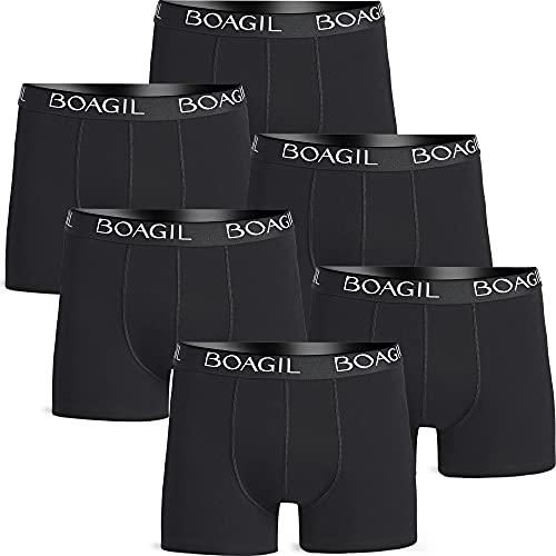 BOAGIL Boxershorts für Männer - 6 Pack Boxershorts - Weich, Atmungsaktiv und Perfekte Passform Baumwoll-Boxershorts, Größe: M, Farbe: 6X Schwarz