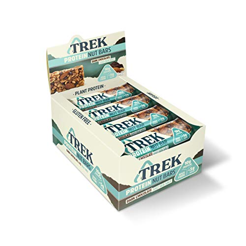 TREK High Protein Low Sugar Nut Bar Dark Chocolate & Sea Salt, 40 g - Gluten Free Bars – Healthy Snack Bars – Vegan Bars – Best Healthy Snack (Pack of 16)