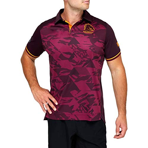 RENDONG Mustang Rugby Jersey, Herren Trainings Trikot Kurzarm Tops Herren Casual Sports T-Shirt Fußballbekleidung,Braun,5XL