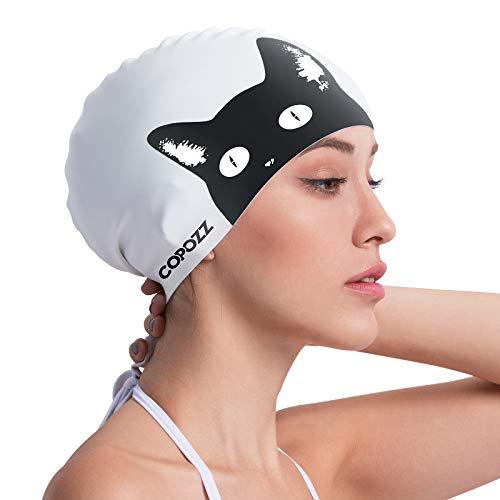 COPOZZ Erwachsene Badekappe, Wasserdicht Schwimmkappe für Damen, Lange Haare Silikon Swimming Cap Bademütze für Frauen