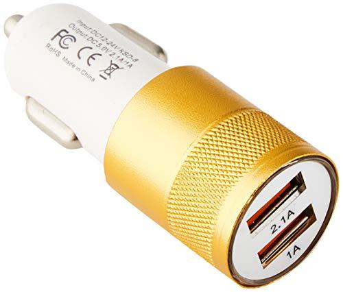 Doble Adaptador de Encendedor de Coche USB para ASUS Zenfone MAX Pro (M2) Smartphone 2 Puertos Coche Cargador Universal Colores (Dorado)