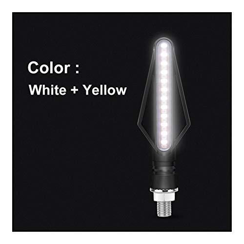 DLYDSS Motorrad Blinker LED Lichter Blinken DRL Bremsstreifen LED Blinker Fließende Motorrad-Anzeigeleuchte Signal for Honda ZZXD (Color : White Yellow)