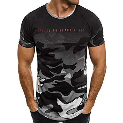 REALIKE Herren Kurzarmshirt Oberteil Casual Basic O-Ausschnitt Tarnmuster Buchstabenmuster T-Shirt Mode Slim Fit Tops Summer Sport Bequem Atmungsaktiv Leicht Viele Farben Blusen