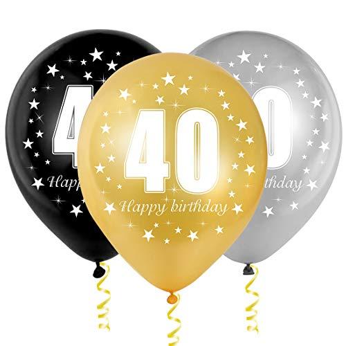Bluelves 40 Ans Ballon Anniversaire, Ballon Chiffre 40, Ballon Latex Noir Argent Or