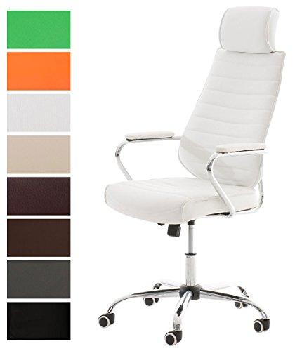 CLP Bürostuhl RAKO mit Kopfstütze und Laufrollen   Höhenverstellbarer Schreibtischstuhl mit Kunstlederbezug Weiß