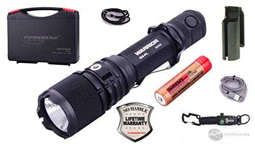 PowerTac Warrior G4-FL Wide Beam 4200 Lumen USB Rechargeable LED Police Duty Compact Powerful Tactical Flashlight Dual-Charging System Hard Shell Holster with Compass 44 8-in-1 Tactical Keychain