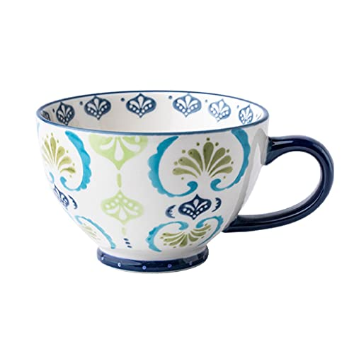 Tazón de porcelana para cereales, pintado a mano, taza de café, 475 ml, juego de taza de té, regalo para avena, latte, capuchino, yogur (capacidad: 475 ml, color: azul)