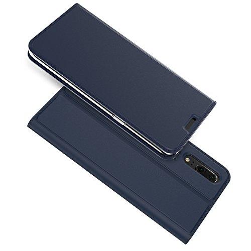 Carcasa Huawei P20, Huawei P20 funda de piel, basicstock Ultra Fina suave PU Piel funda cartera con [ranura para tarjetas] [cierre magnético], Snap-on Case para Huawei P2 (AZUL)