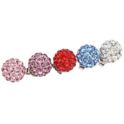 ZUMUii Butterme 5 Paires Shamballa 925 Argent Strass Boule 8mm Princesse Diamant Stud Boucles d'oreilles