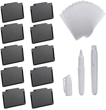 Basket Bin Labels Clip On 10 Black Label Holders with 10 Reusable Clear Label Cards and 2 Mini product image