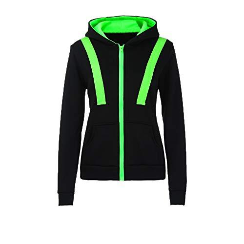 iHENGH Damen Herbst Winter Bequem Lässig Mode Frauen Warme Hoodies Hoody Sweatershirt Mit Kapuze Pullover Pullover Mantel Zip Jacke(Schwarz, L)