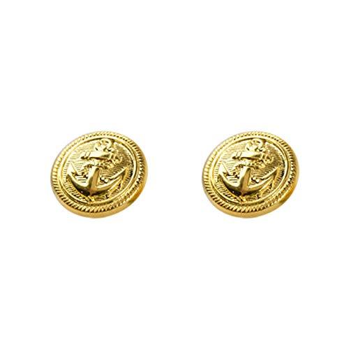 Juego de 12 botones vintage de metal dorado envejecido, superficie plana para chaqueta, trajes, abrigo, chaqueta, 25 mm