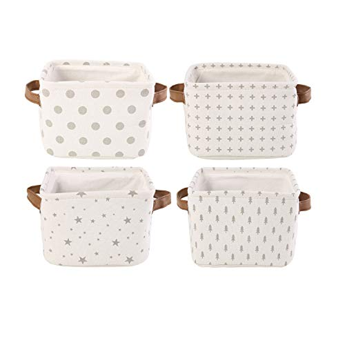 LessMo 4 Pack Collapsible Box Organizer Rectangular Cloth Storage Basket with Handles Made of Thickened Cotton and Linen Fabric for Shelves Closets Under-Bed Clothes Toys