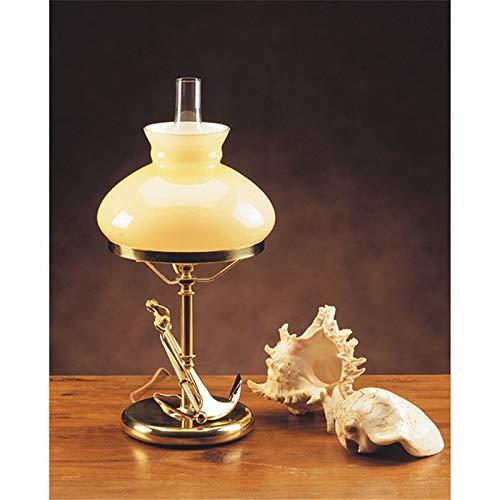 Stilvolle Tischlampe NORINA Bernstein Echt-Messing Jugendstil Handarbeit H:46,5cm Maritime Leuchte