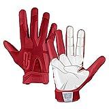 Grip Boost Boys Peace, Shaka, and Hook 'Em Youth Football Gloves Pro Elite (Crimson Red, Youth Medium)