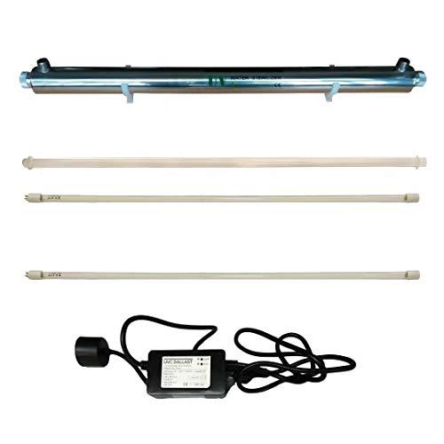 """Realgoal 55W UV esterilizador desinfeccion de agua ULTRAVIOLETA, acero inoxidable 304, flujo 12GPM, 55W luz ultra violeta, entrada/salida 3/4""""macho (Anadir 1 lampara UV extra)"""