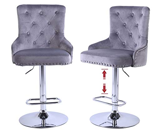 Swivel Bar Stools with Back Set of 2 Adjustable Counter Height Stool Chair Velvet Bar High Chair fit Kitchen Dining Room Club, Gray