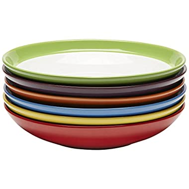 Premium Ceramic Set of 6, Colorful Meal Stoneware (Pasta and Salad Bowls)