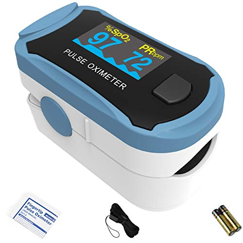 Choicemmed MD300C29 Dual Color OLED Finger Pulse Oximeter - Blood Oxygen Saturation Monitor with Color OLED Screen Display and Included Batteries - O2 Saturation Monitor - Grey Black