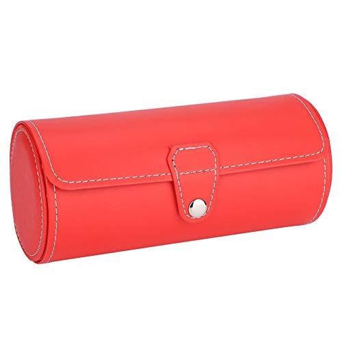 OIHODFHB Reloj de pulsera PU Roll Holder Anillos Pendientes Caja de joyería Caja de regalo Almacenamiento Rosa Rojo