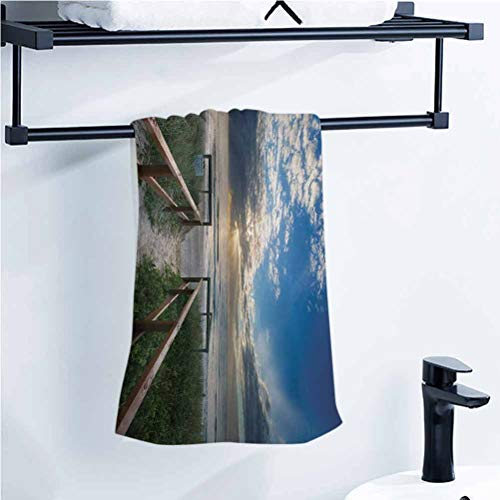 alisoso Beach Bathroom Towel Entry to The Beach with Leading Handrails Surrounded by Bushes Sunrise Cloudy Weather 24x8 Inch Best Bath Towels