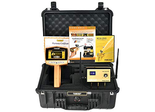 Mega Detection Mega Gold 2020 Long Range Gold Finder | Professional Deep Seeking Metal Detector and Treasure Finder | 4 Search Systems - with Free Pin Pointer