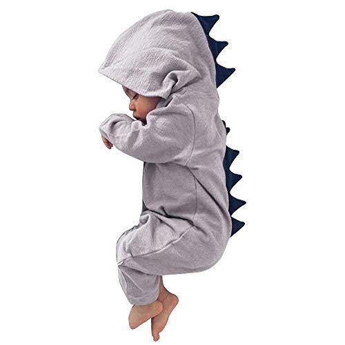 Dehots Baby Jungen Mädchen Strampler Schlafstrampler Overall Jumpsuit Säugling Kleinkind Bodysuits Outfits Kleidung Einteiler Hoodie Jacke 0-12 Monate Herbst Winter Neugeborenen, Grau, 3-6 Monate