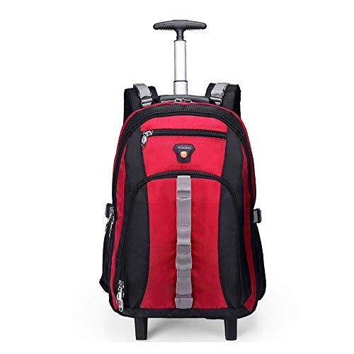 ZXM Gli Studenti Trolley Zaino con Le rotelle, con Scomparti for Notebook Portatile Valigia a rotelle, Business Travel Bag Tablet (Colore : Red, Size : 20 inch)