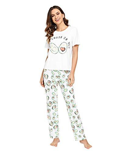 DIDK Women's Cartoon Print Tee and Pants Pajama Set White Avocado XXL