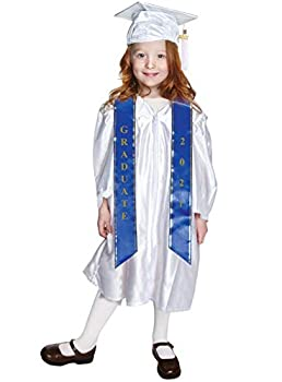 Small White Shiny Child Graduation Cap Gown Tassel and 2021 Charm