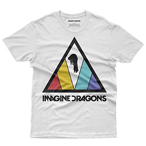 Imagine Dragons, T-Shirt Official Licensed Uomo, Medium, Bianco