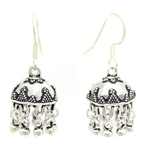 Rajasthan Gems Pendientes colgantes hechos a mano Jhumki de plata de ley 925 grabados a mano E35