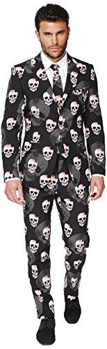 OppoSuits OSUI-0035-EU46 - Skulleton - Halloween Kostüm, Schädel Anzug, Größe 46, Mehrfarbig