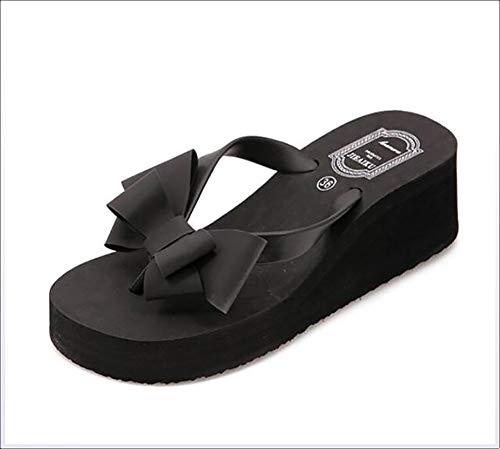 JSONA Mujer Verano Arco Chanclas Sandalias Zapatos de Playa Antideslizantes de Moda para Interiores/Exteriores, Negro, 39