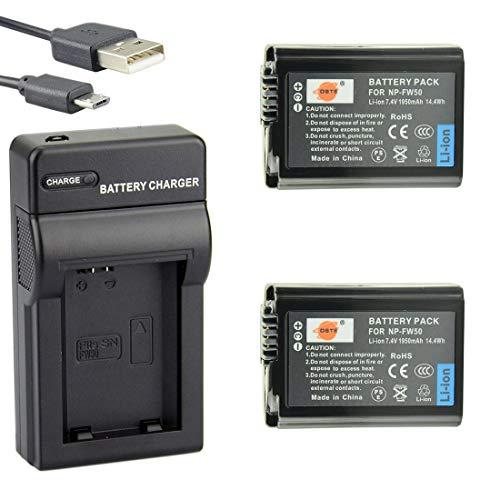 DSTE NP-FW50 Li-Ion Batteria (2-Pacco) e Caricabatterie USB per Sony A7, A3000, A6000, A6300, A6400, NEX-3, NEX-3N, NEX-5, NEX-5N, NEX-5R, NEX-5T, NEX-6, NEX-7